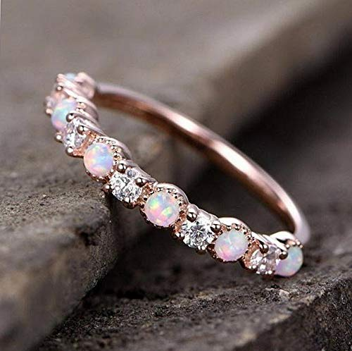 Monowi Women Gorgeous Rose Gold Fil Pink Fire Opal Party Cocktail Rings Size 6-10 | Model RNG - 6639 | 8