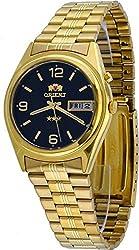 Orient #FEM6Q00BB Men's 3 Star Standard Gold Tone Black Dial Automatic Watch