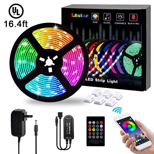 LED Strip Lights,L8star 5M/16.4ft Flexible Strip Light SMD 5050 RGB with Bluetooth Controller Changing Tape Lights kit with LED Sync to Music for TV,Bedroom,Under Bed Lighting(16.4ft) (Led Flexible)