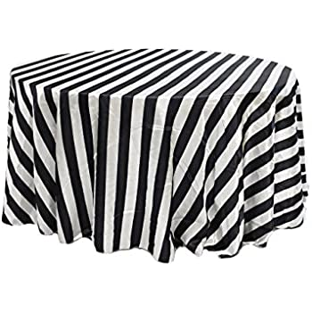 Your Chair Covers YCC Linen   120 Inch Round Satin Tablecloth Black/White  Striped,
