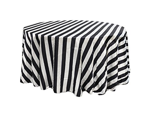 Your Chair Covers YCC Linen - 132 inch Round Satin Tablecloth Black/White Striped, Rectangle Shiny Satin Table Linens for 6 ft Round Tables