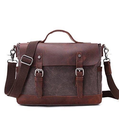mefly impermeable bolso ordenador bolsa solo hombro oblicuo Cruz bolsa bolsa de lona, caqui café