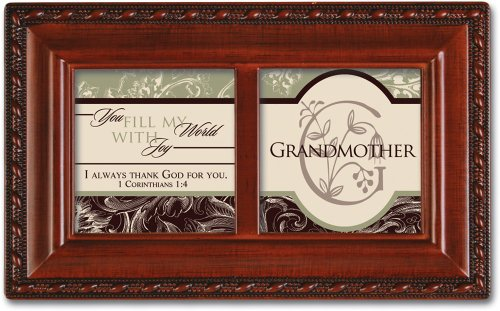 Cottage Garden Grandmother You Fill My World with Joy Woodgrain Petite Music Box Plays Ave Maria (Music Box For Grandmother)