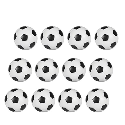 Hosyl Table Soccer Foosballs Replacements Mini Black and White Soccer Balls 12 (Plastic Soccer Balls)