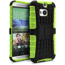 HTC One M8 Case, MagicMobile® Hybrid Armor Heavy Duty Shockproof Impact Resistant Dual Hard Black Plastic Layer and Green Flexible TPU Gel Skin Defender Cover with Kickstand [Compatible Only with HTC One M8]