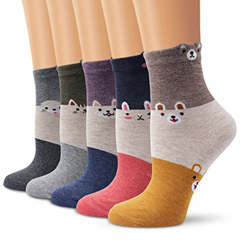 (Ambielly Women Socks Cute Animal Patterned Casual Cotton Socks (5 Dog Cat Rabbit))