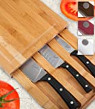 Emeril 3-piece Bamboo Cutting Board with Storage Drawer and 3-piece All-purpose Steel Knife Set, Black