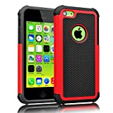 iPhone 5C Case ,[Corner Protection] Protective Case Detachable Defender Thin Protective Anti-dirt Scratch Resistant Hard Soft Heavy Duty Rubber Bumper case Cover for iPhone 5C(Black/Red)