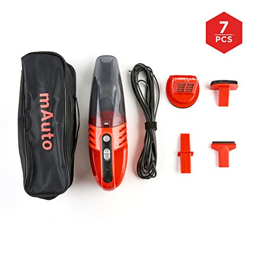 Car Vacuum, mAuto 12 Volt 85W Handheld Vacuum Cleaner for Cars Trucks and SUV's, Bagless Vacuum Cleaner with 3 Attachments Compact Lightweight Hand Vac with Storage Bag and 9ft Power Cord