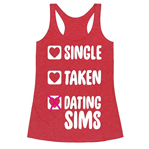 Single, Taken, Dating Sims Heathered Red Medium Womens Triblend Racerback Tank by - Sims Apparel