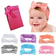 Elesa Miracle Hair Accessories Baby Girl's Gift Box with Bow Flower Hair Headband (6pc Pure Bow Headband)