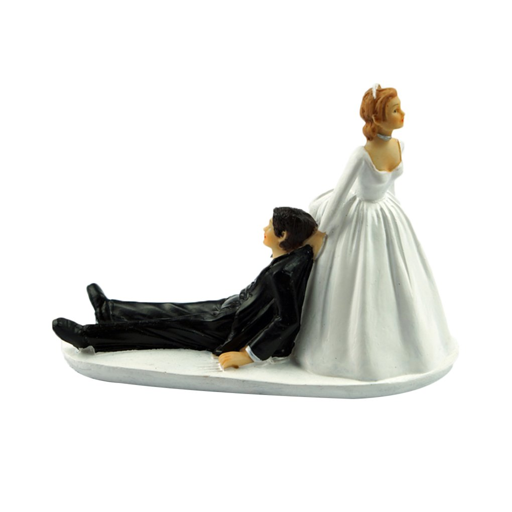 M-Egal Funny Bride Groom Figurine Humor Favors Unique Gift Wedding Cake Toppers Decoration