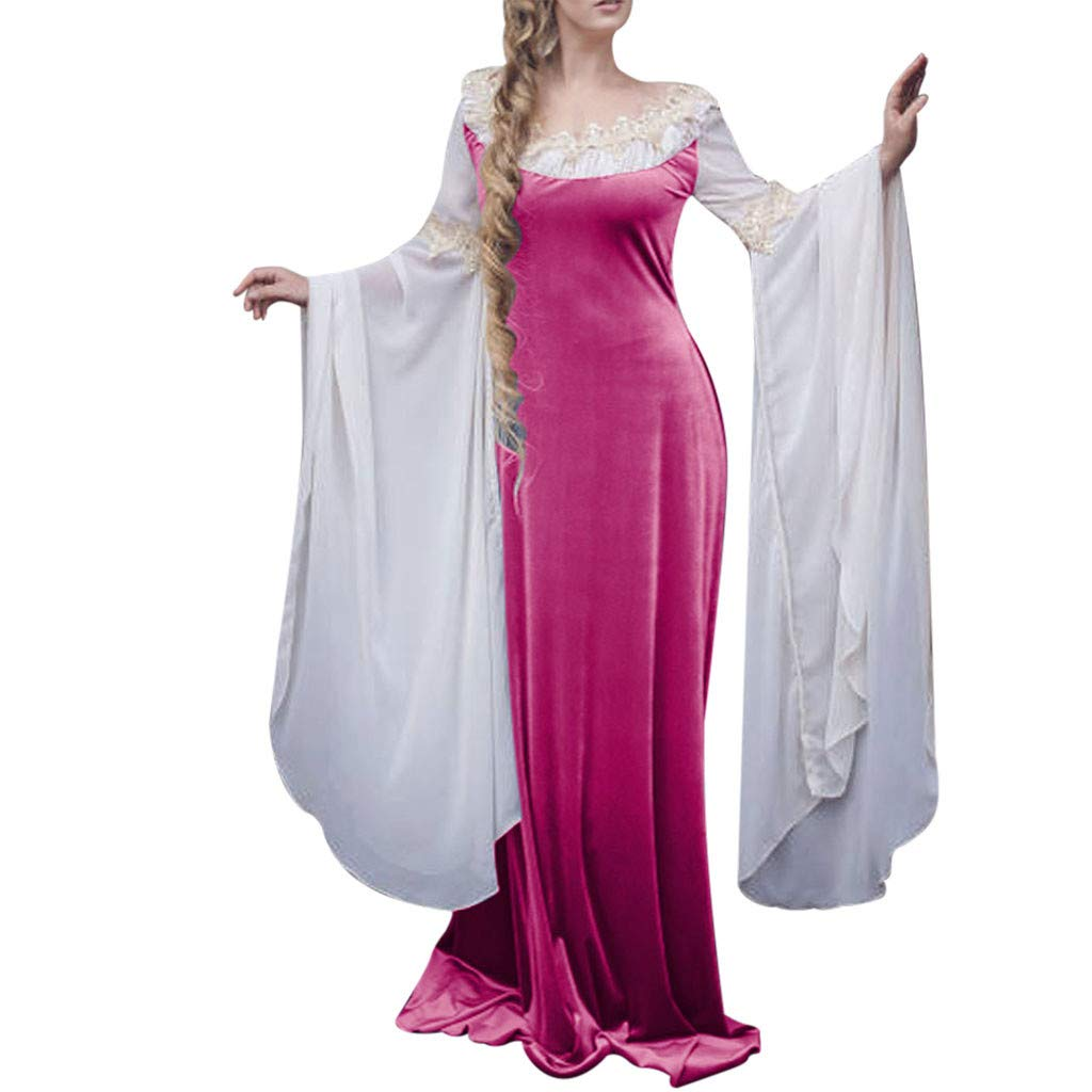 Women Halloween Vintage Medieval Fairy Long Sleeve O-Neck Breathable Slim Fit Floor Length Elegant Elven Dress by QQ1980s