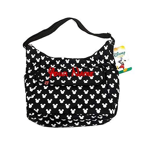 Personalized Disney Mickey Mouse Classic Carryall Black and White Print Multi-Pocket Hobo Baby Tote Bag Diaper Bag Gift Set - 3 Piece -