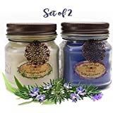 Aromatherapy Candles Stress Relief 2-Pack with Natural Essential Oils of Lavender, Eucalyptus Spearmint & Rosemary -2- 8 Ounce Jar Candles- Spa Quality & Made in America by Way Out West Candles