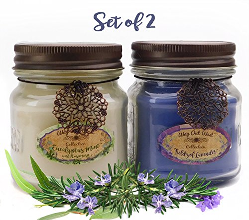 Way Out  West Aromatherapy Candles Stress Relief 2-Pack with Natural Essential Oils of Lavender, Eucalyptus Spearmint & Rosemary -2-8 Ounce Jar Candles- Spa Quality & Made in America by Candles