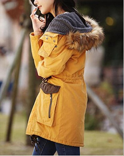 Fly Warm Outwear Yellow Men uk Year Faux Jackets Coats Fur Lined Hooded Winter 0Z0qxr