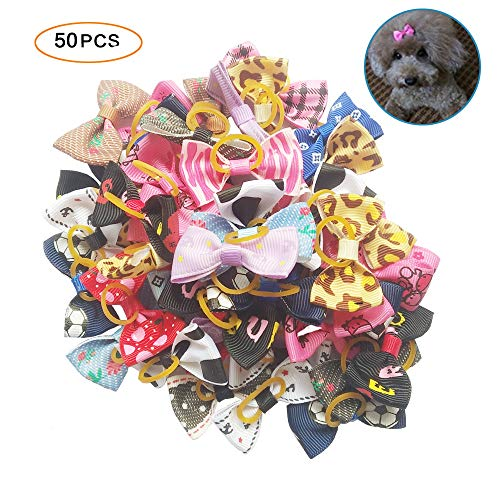 - Tangser Hair Bows for Dogs, Hair Accessories, Hair Clips for Yorkie, Teddy, Pet with Rubber - Pack of 50