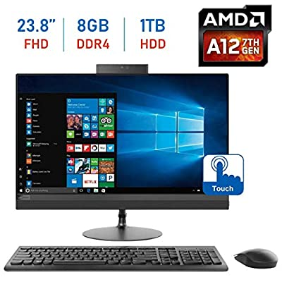 Lenovo Ideacentre Premium 520 23.8-inch 1920 x 1080 Touchscreen All-in-One Desktop PC, AMD A12-9720P 2.7GHz, 8GB DDR4, 1TB 7200RPM HDD, 802.11ac WiFi, Radeon R7, HDMI, DVD-RW, Bluetooth, Windows 10
