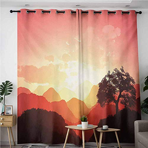 VIVIDX Waterproof Window Curtains,Mystic Magical Oriental Sunset View with Tree and Mountains Mystique Hills,Blackout Draperies for Bedroom,W108x72L,Coral Orange Dark Brown