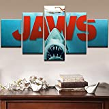 Modular Pictures Home Decor Shark Canvas HD Print Painting Framed For Living Room 5 Panel Jaws Movie Wall Art Oil Poster