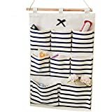 Small Bathroom Tall Cabinet WJkuku Linen Cotton Fabric Wall Door Closet Hanging Storage Bag Multi-purpose Pockets Home Organizer (8 BAG, Blue Strips)