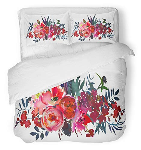 Emvency 3 Piece Duvet Cover Set Breathable Brushed Microfiber Fabric Orange Berries Watercolor Flowers Red Navy Blue Magenta Pink Bouquet Landscape Baby Bedding Set with 2 Pillow Covers Twin Size