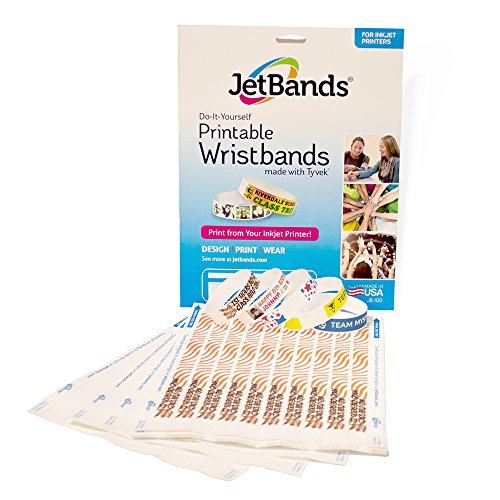 photo regarding Printable Tyvek Wristbands called JetBands Do-it-yourself Inkjet Printable Tyvek Wristbands - 100 Rely