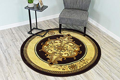 Oriental Brown Round Rug (PlanetRugs Glamour Design 206 3D Hand Carved Traditional Rug Oriental Floral 5'3''x5'3'' Round Brown Smoke Blue)
