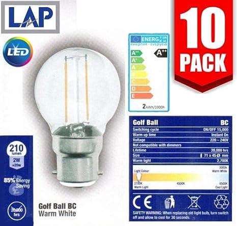 10 bombillas LED LAP de 2 W de filamento súper eficiente para pelota de golf,