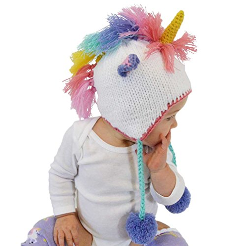 oddler Girls Pastel Unicorn Beanie Hat Large ()