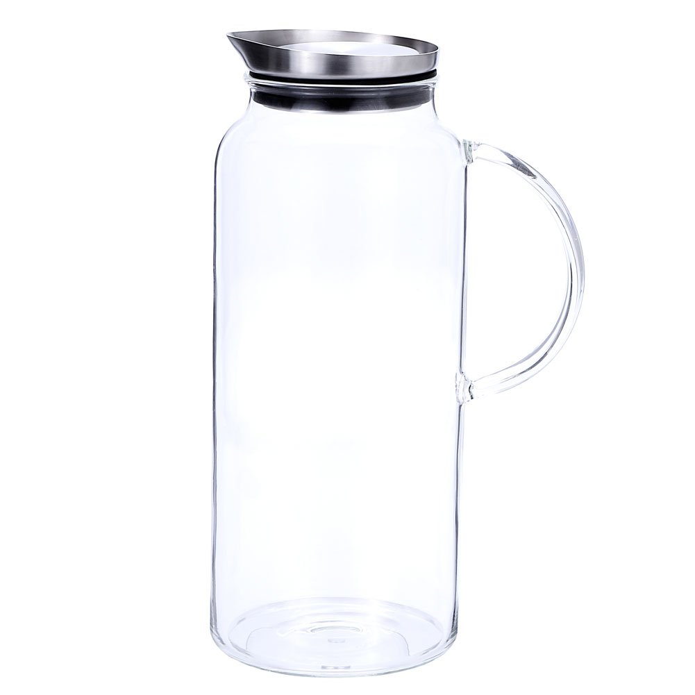 68 Ounces Glass Pitcher with Lid, Hot/Cold Water Carafe, Juice Jar and Iced Tea Pitcher by Purefold (Image #4)