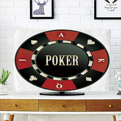 LCD TV Cover Multi Style,Poker Tournament,Casino Chip with Poker Word in Center Rich Icon Card Suits Decorative,Army Green Vermilion White,Customizable Design Compatible 50