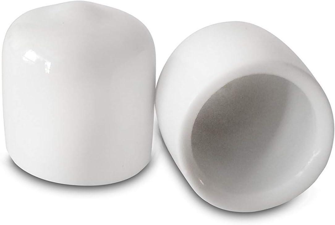Prescott Plastics 1/2 Inch White Round Vinyl Rubber Cap, FDA Food Grade, Flexible Pipe Post Cover (100)