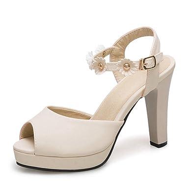 318d6bcce3ea Women s Peep Toe Platform Chunky Heel Flower Closed Back Buckle Strap Pump High  Block Heeled Sandal