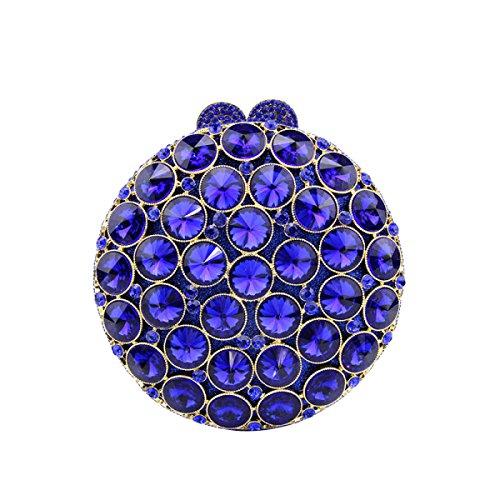 Pequeño Exquisito Redondo Bolso Ornamentos Del Diamante Del Vestido De La Manera Bolso De Mano Partido Mini Bolso De Tarde Blue