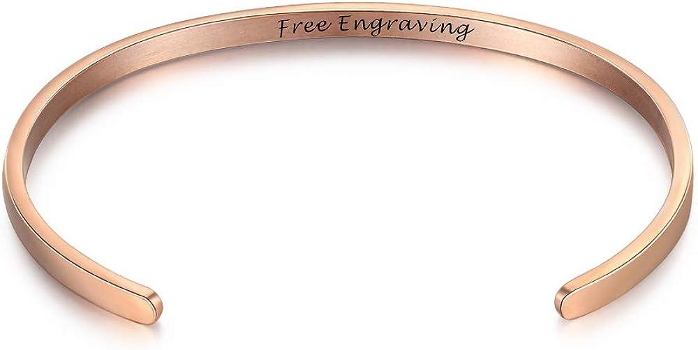 OPALSTOCK ネームバングルブレスレット シンプルなカフブレスレット 女性 女の子 ストレッチブレスレット ウェディングジュエリー カスタマイズ可