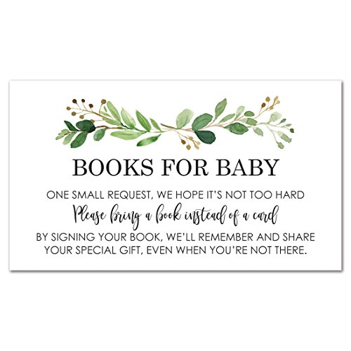 InvitationHouse 48 cnt Greenery Baby Shower Book Request Cards