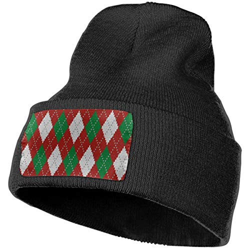 Unisex Classic Christmas Knitted Argyle On Red Small Beanie Skull Caps Knit Hat for Winter Ski Hat