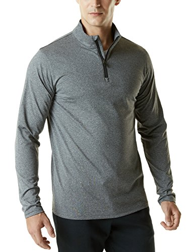 Half Zip Thermal (TM-YKZ01-GRY_X-Large Tesla Men's Winterwear Sporty Slim Fit 1/4 Zip Fleece Lining Sweatshirt YKZ01)