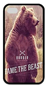 iPhone 4s Cases, iPhone 4s Case - Bear With Beard And Moustache PC Silicone Case Cover for iPhone 4 and iPhone 4s - Black