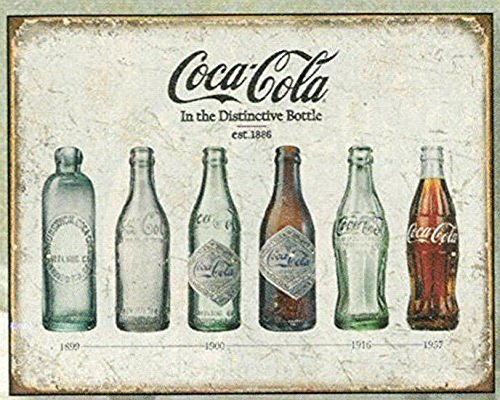 FRENCH VINTAGE METAL SIGN 40X30cm RETRO AD COCA COLA SODA EVOLUTION OF THE BOTTLE