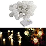 LEDMOMO 5m 40 LED Silver Metal Ball String Lights Battery Operated for Christmas Home Wedding Birthday Party Decoration