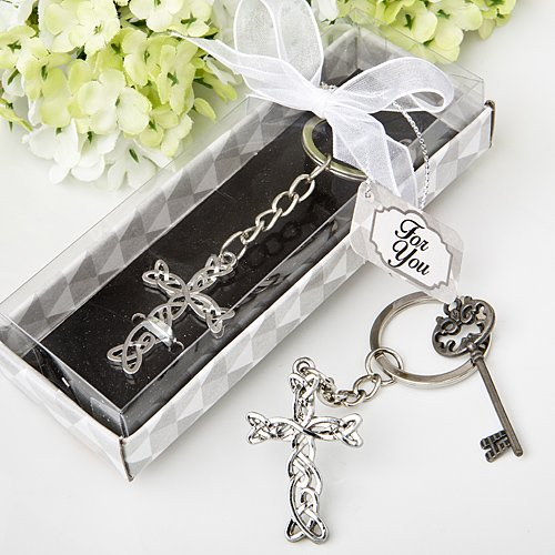 Delicate Intertwined Fancy Metal Cross Key Chain Favors , 108