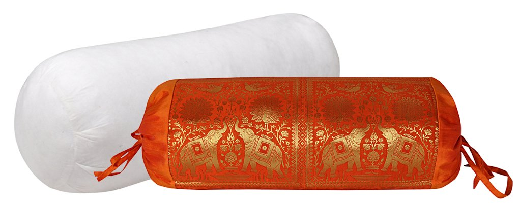 Elephant Designer Silk Bolster Pillow With Cover 30 X 15 Inches