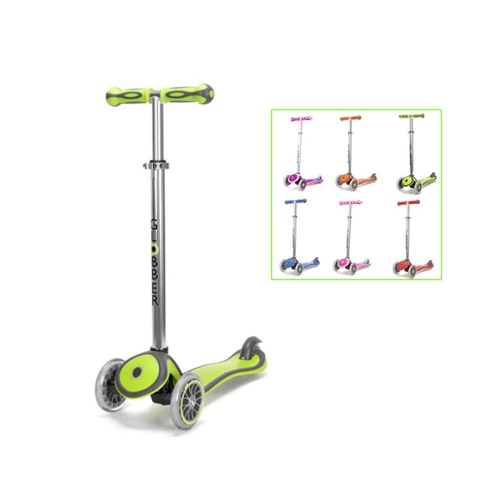SSLHDDL Kinderscooter Dreirad mit verstellbarem Lenker Kinderroller Roller Scooter LED Blinken für Kinder ab 3 4 5 Jahren Grün