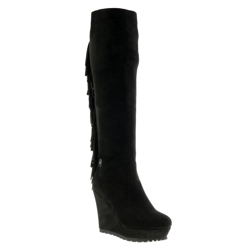 Angkorly - Damen Schuhe Stiefel - Plateauschuhe - Flexible - Fransen - Strass Keilabsatz high Heel 11.5 cm
