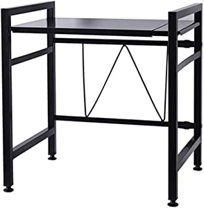 Extendable Microwave Oven Rack Shelf Stand, Adjustable Counter Tableware Storage Shelf and Organizer with 2 Pairs Hooks, Kitchen Supplies Carbon Steel Rice Cooker Stand