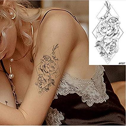 yyyDL Tatuajes temporales de flores de rosa negra a prueba de agua ...