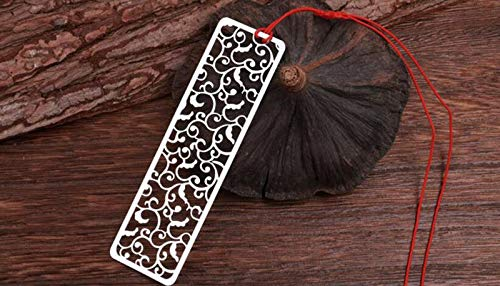(Mink Monk Creative Flower Hollow Bookmarks Vintage Metal Bookmark with Chinese Knot Multifunctional Stationery Material Escolar)